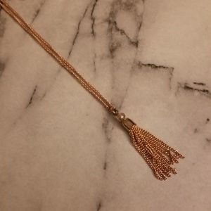Rose Gold Chain Tassel Necklace